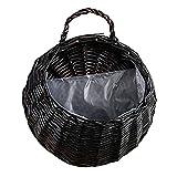 LVOERTUIG Handmade Wicker Hanging Flower Basket Rattan Plant Vine Wall Basket for Home Wedding Party Decoration (L,#4)