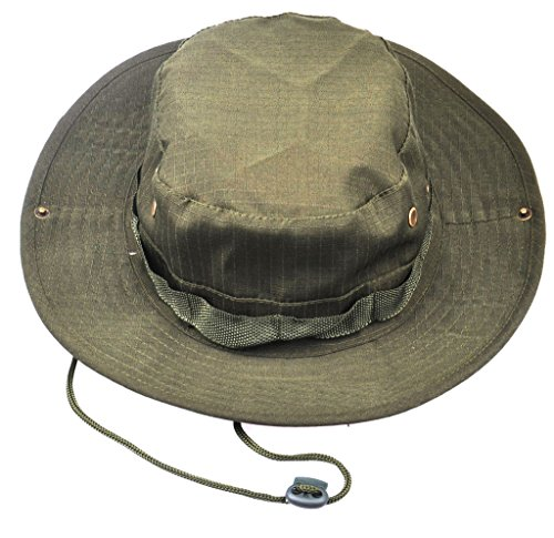JITTY Wide Brim Military Bucket Boonie Sun Hat for Summer Outdoor Hiking Fishing Gardening Hunting Camping Wargame (Army Green) - Jungle Boonie Hat