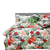 FADFAY Tropical Bedding Set Hawaiian Style Red Hibiscus Palm Leaves Duvet Cover Set Super Soft 100% Cotton Hypoallergenic,1 duvet cover & 2 pillow shames,Twin XL Size For College Dorm Bedding