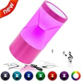 LED Bluetooth Speaker, Zdatt Portable Aluminum Alloy Dynamic Color-Changing Bluetooth Wireless Speaker Supports TF Card - Powerful Sound with 3-LED Light Mode for iPhone, Android and Tablets-Rose Red
