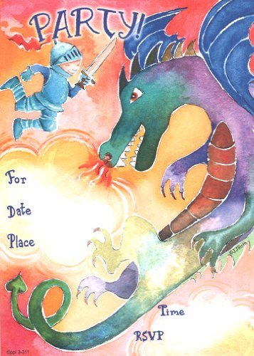 - Kids Dragon Invitations, Fill-In Style, 8 Pack