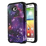 NextKin LG Optimus L70 MS323 Hybrid Dual Layer Armor Hard Silicone Skin Protector Cover Case - Purple Marvel Nebula Galaxy/ Black