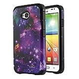 NextKin LG Optimus L70 MS323 Hybrid Dual Layer Armor Hard Silicone Skin Protector Cover Case - Purple Marvel Nebula Galaxy/ Black