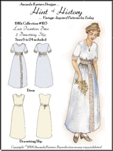 Edwardian Sewing Patterns- Dresses, Skirts, Blouses, Costumes 1910s Lace Insertion Dress and Drawstring Slip Pattern $14.95 AT vintagedancer.com