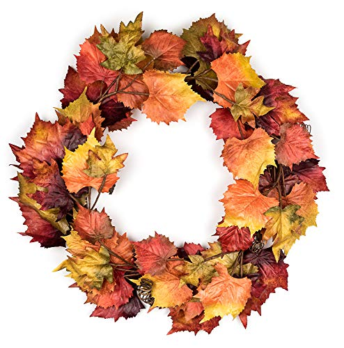Vita Domi 30 inch Grape and Maple Leaf Fall Wreath Front Door Thanksgiving Wreath with Vibrant Autumn Colors (Fall Sale Door Wreaths)