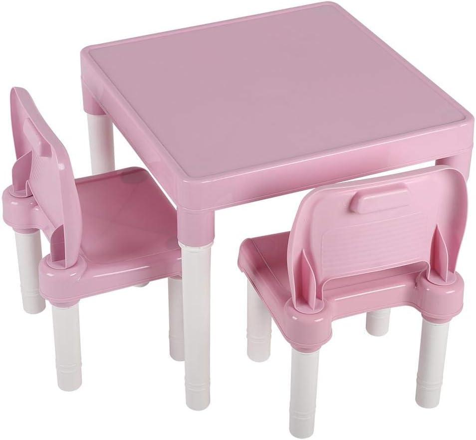 Schreibtisch-Set f/ür Jungen oder M/ädchen Rose Maltisch und 2 Studienst/ühle und St/ühle-Set f/ür Kinder GOTOTOP Tisch