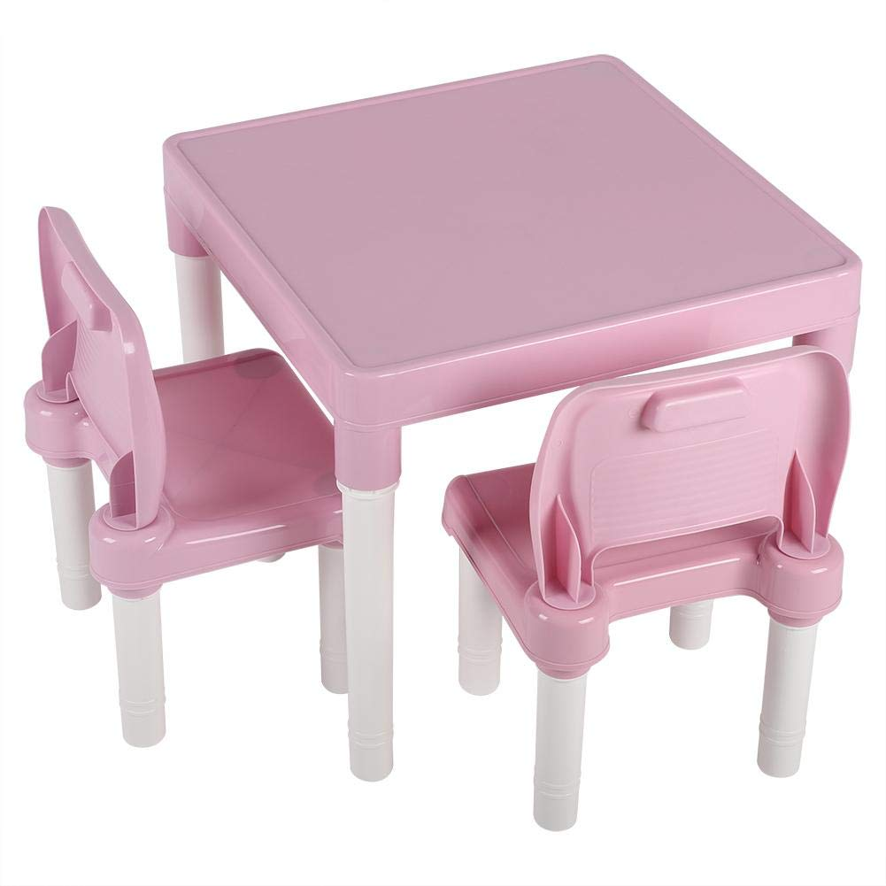 Yosooo Kids Plastic Table Set,Table and 2 Chairs Set Activity Table Chair Set Kids Furniture Set Children's Table and Chair Set Portable Lightweight Activity Learning Table (Pink) by Yosooo