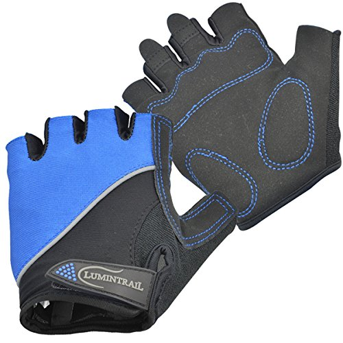 Lumintrail Shock Absorbing Half-Finger Riding Cycling Gloves Breathable Road Racing Bicycle Mens Womens (Blue, Small) - Unisex Ultra Riding Gloves