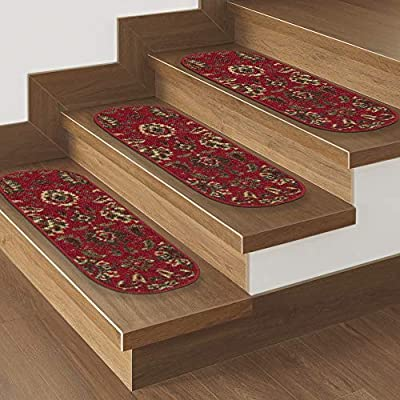 Ottomanson OTH2130-7 Red Oriental Ottohome Collection Floral Design Stair Tread 7 Pack,