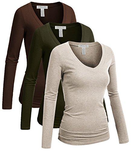 Way Juniors T-shirt - Emmalise Long Sleeve V Neck T Shirt Women-Junior sizes,3pk-olive,brown,oat,Small