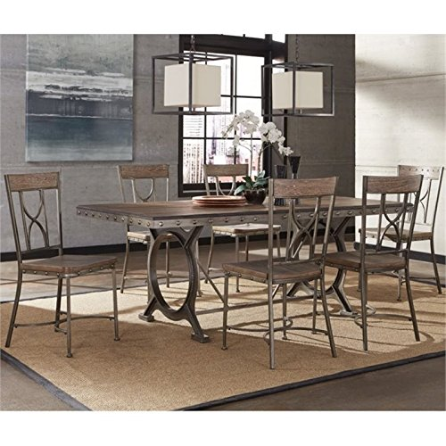 Bowery Hill 7 Piece Dining Set in Brown Gray