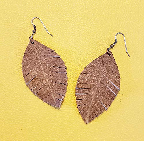 Brown Leather Earrings/Rustic Brown/Fringed Leather Leaf Earrings/Rustic Earrings/Boho Earrings/Fringe Jewelry/Joanna Gaines Jewelry