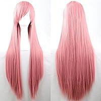 New 80cm Straight Sleek Long Full Hair Wigs w Side Bangs Cosplay Costume Womens, Dusty Pink