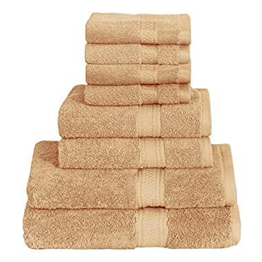 8 Piece Towel Set (Beige); 2 Bath Towels, 2 Hand Towels & 4 Washcloths - Cotton By Utopia Towels