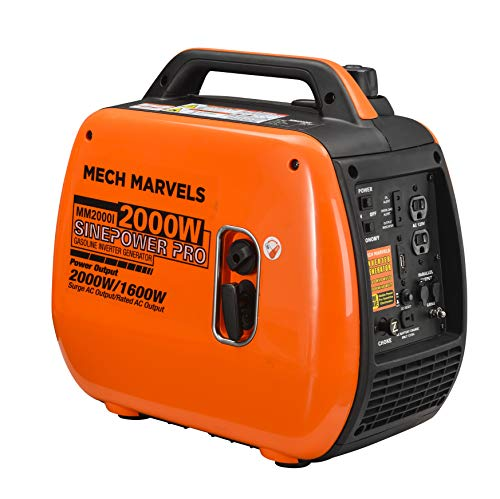 Mech Marvels Super Quiet 2000 Watt Portable Inverter Generator, Carb Compliant, Clean Sine Wave MM2000I