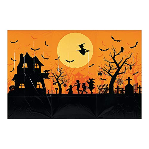 Fun Express - Classic Halloween Backdrop Banner for Halloween - Party Decor - Wall Decor - Preprinted Backdrops - Halloween - 3 Pieces -