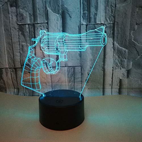Pistola Modo 7 Colores Cambio 3D LED Luz Acrilico Toque Lampara USB Dormitorio Mesa Escritorio Luz Nocturna Regalo para ninos Diversiones