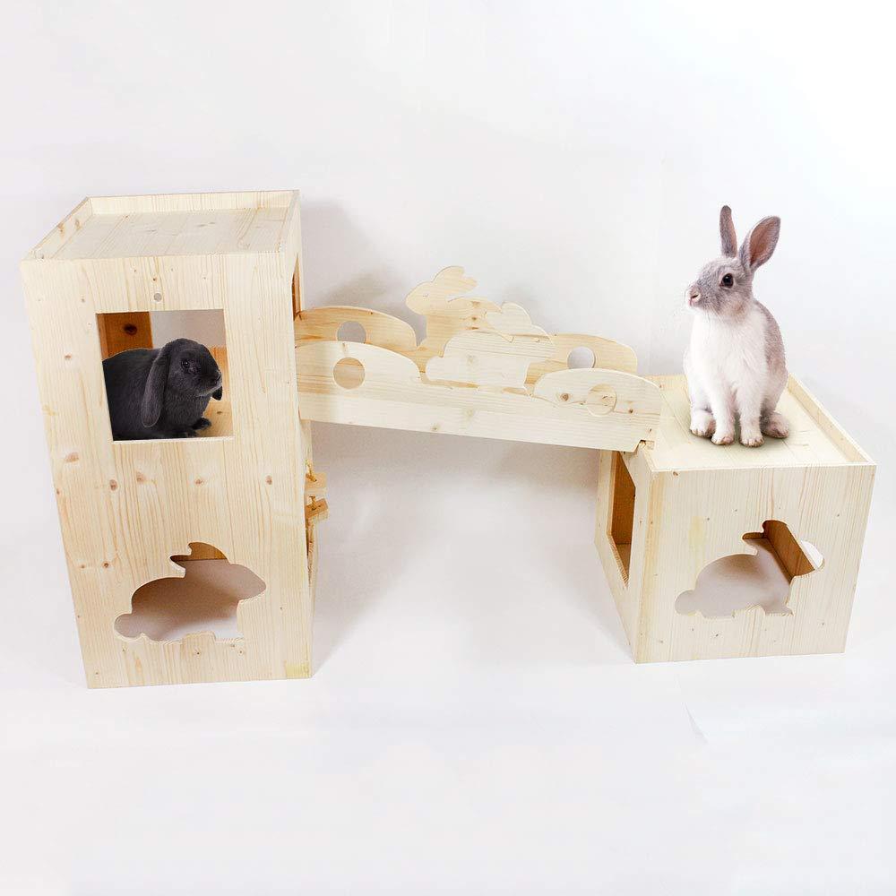 LA Fortezza, Kit Gioco per Conigli e Cavie con Torre CUBO e Ponte di Collegamento, Gioco interattivo per roditori - in Legno di Abete - Dim. cm. 125 x 36 h.64