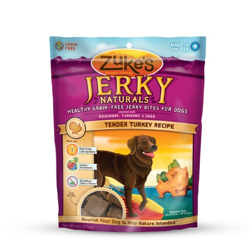 Zuke's Jerky Naturals Healthy Grain Free Treats for Dogs, Tender Turkey Recipe, 6-Ounce, My Pet Supplies