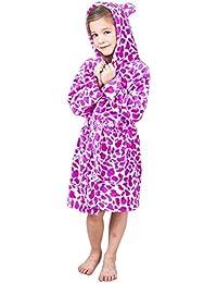 Girls Boys Fleece Hooded Bathrobe For Kids BL007