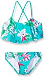 Kanu Surf Big Girls' Alania Floral Flounce Bikini Beach Sport 2-Piece Swimsuit, Green, 12