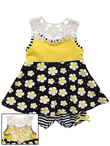 Rare Editions Baby Girls Yellow Black Crochet Back Knit Dress (12 Months) (Editions Rare Bloomers)