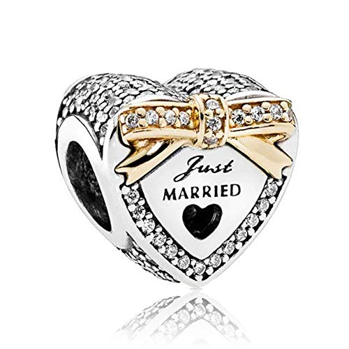 Romántico Amor Wedding Day Charm Just Married Gold Plated Silver Bead for Pandora Bracelets]()