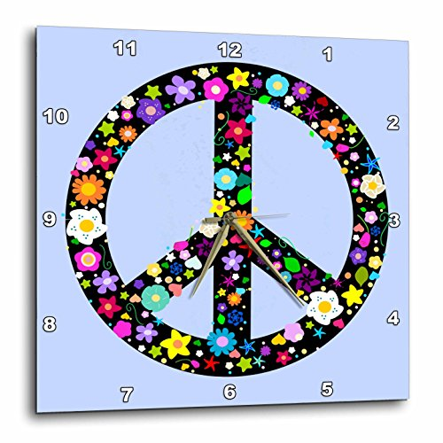 3dRose Floral Peace Symbol - Flowery Hippy or Hippie Sign