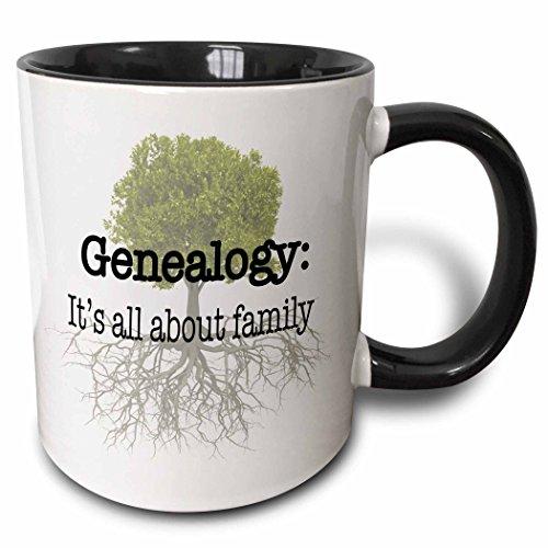 3dRose 157438_4 Genealogy it's all about family Mug, 11 oz, Black