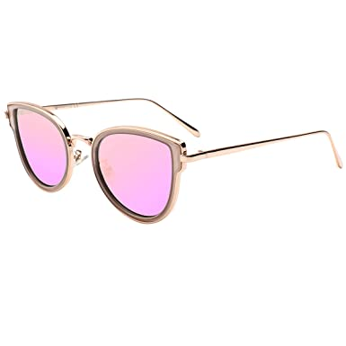 bcfdaef8f VIVIENFANG Women Cute Cat Eye Pink Mirrored Sunglasses Fashion Polarized  Shades 87558A Pink