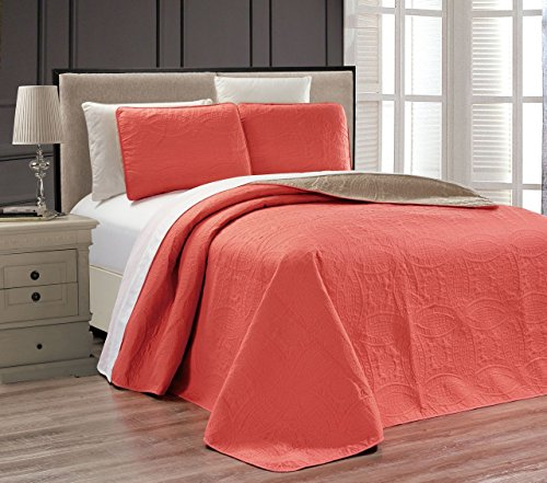 Embossed Coral Medallion Bedspread/Quilt Set King (Coral Quilt Set)
