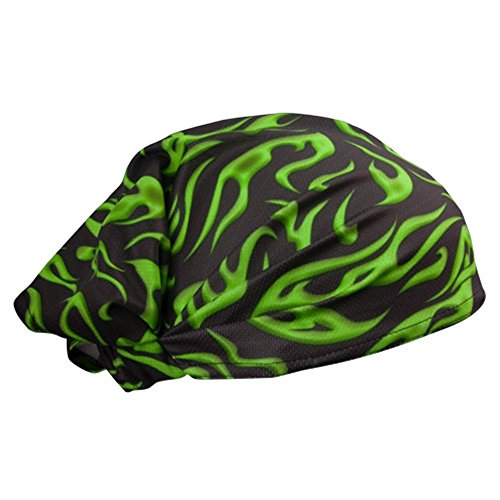Green Black Flames Schampa Doo - Z Multi Wear Use Headwrap Headscarf Durag Face Mask Scrunchie