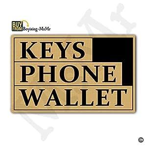 """msmr entrada Felpudo–Felpudo llaves teléfono cartera puerta Mat Interior y Exterior para alfombra de goma Tela no tejida Top 18""""x30"""""""