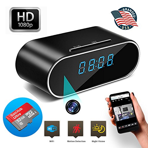 Digital Surveillance Package - Hidden WiFi Nanny Camera Bundle with SD Card. Best IP Camera. 1080p WiFi Video Clock - a Smart Wi-Fi Indoor Home Security Clock Including Night Vision and Video Recorder 2018