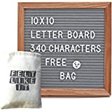 Letter Board - 340 Changeable Plastic Letters Message Board - 10x10 Inch Oak Frame with Gray Wool Felt Surface