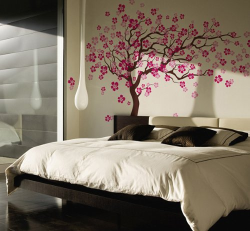 Pop Decors Removable Vinyl Art Wall Decals Mural, Cherry Blossom Tree/Dark Brown/Hot Pink by Pop Decors (Image #2)