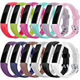 Maledan Replacement Accessories Bands (12 pack) for Fitbit Alta and Alta HR with Stainless Steel Buckle