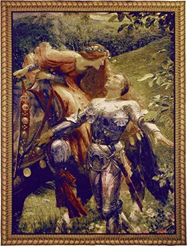 La Belle Dame sans Merci by Frank Dicksee | Woven Tapestry Wall Art Hanging | Victorian John Keats Poem Depiction | 100% Cotton USA Size - Keats La Belle