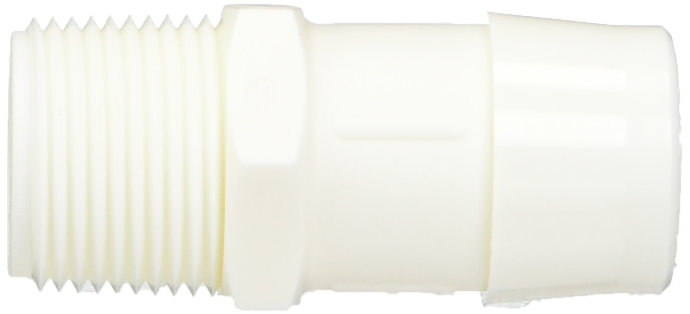Eldon James A12-16WN White Nylon Adapter Fitting, 3/4-14 NPT to 1'' Hose Barb (Pack of 10) by Eldon James (Image #2)