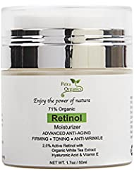 Petra Organics Retinol Cream for Face and Eye Area - 71% Organic - with Retinol, Hyaluronic Acid, Shea Butter & Vitamin E - Advanced Anti Aging Night Cream - Fragrance Free beauty Face Moisturizer