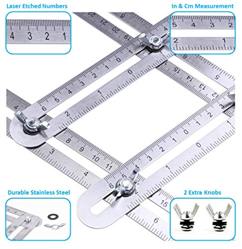Cut Laser Wood Architect Scale - Angle Measurement Tool Stainless Steel Universal Template Measure Angular Ruler Laser Engraved Scale - Bag and 2 Extra Knobs for Carpenter Woodwork Tile Floor Installation DIY Roofing Tools