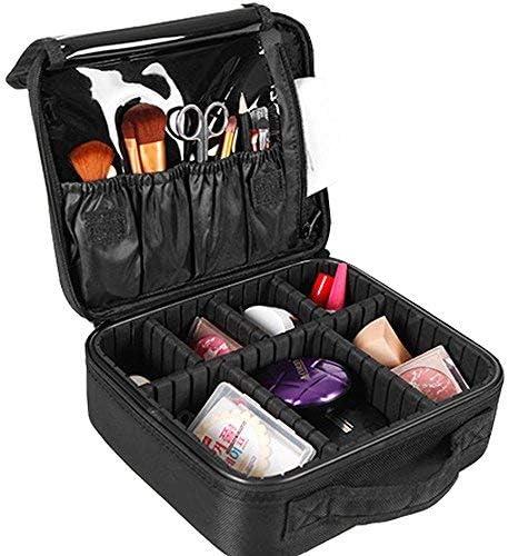 Nasjac Neceser Maquillaje Bolsa de Cosméticos Organizador -Profesional Maquillaje Case-Travel Maquillaje Herramientas Contenedor Estuche para Viaje Bolso de Cosméticos con Divisores Bolsillos(Negro): Amazon.es: Belleza