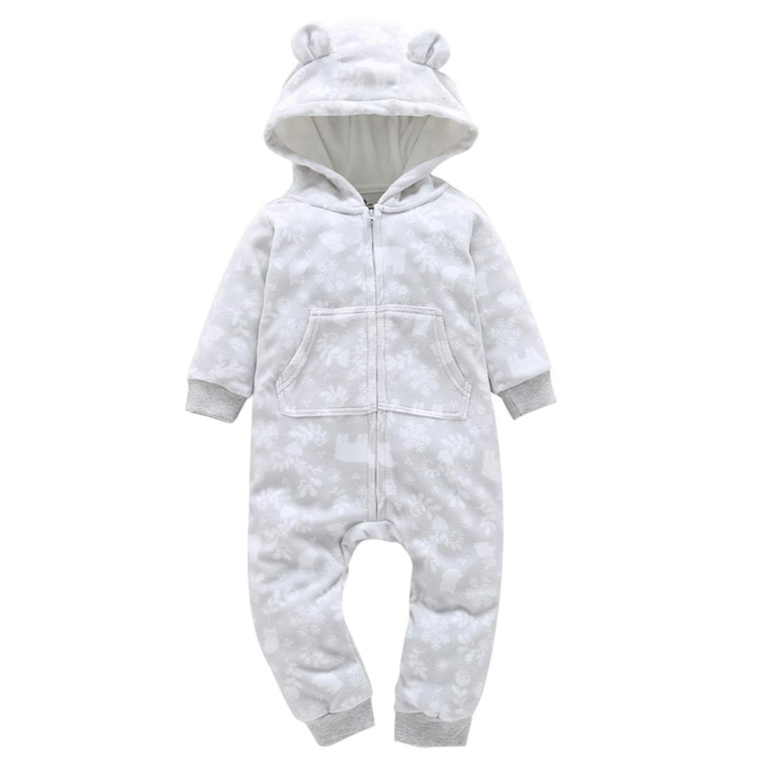 Baby Girls Boys Fall Winter Warm Thick Long Sleeve Fleece Hooded Romper Jumpsuit