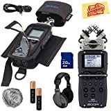 Zoom H5 Handy Recorder Bundle with Zoom PCH-5 Case, Headphones, WSU-1 Windscreen, SD Card, 2 XLR Cables, Aux Cable, AA Batteries, and Austin Bazaar Polishing Cloth