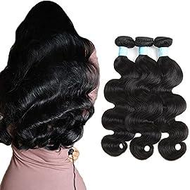 BLY Brazilian Virgin Human Hair Body Wave 3 Bundles(100 gram/bundle, total 300g) 8A Grade 100% Unprocessed Human Hair Weave Extensions Weft Natural Color(10 12 14)