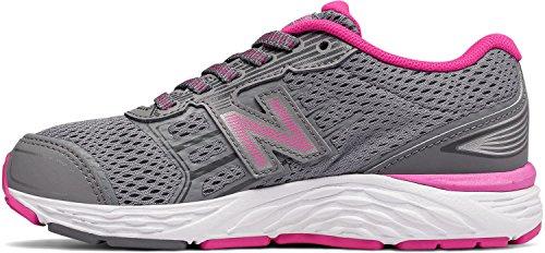 New Balance Girls' 680v5 Running Shoe, Steel/Pink Glo, 13 W US Little Kid