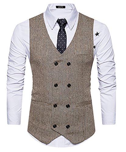 WULFUL Mens Slim Fit Double Breasted Tweed Waistcoat Vintage Gentleman Suit Vest Khaki L