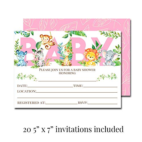 """Deluxe Watercolor Jungle Animals Baby Shower Party Bundle for Girls, Includes 20 each of 5''x7'' Fill In Invitations, Diaper Raffle Tickets, Bring a Book Cards & 2"""" Thank You Favor Stickers w/ Envelopes by Amanda Creation (Image #1)"""