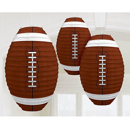 3 Inch Super Bowl - Amscan Football Frenzy Birthday Party Hanging Lanterns Decoration (3 Piece), Multi Color, 12 x 11