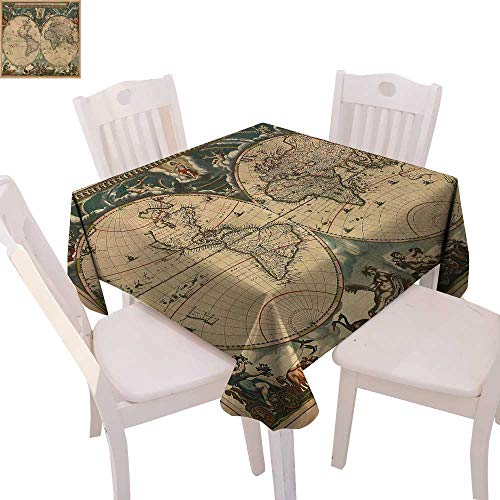 (cobeDecor Vintage Stain Resistant Wrinkle Tablecloth Dated Old Map of Ancient World Historic Geography Theme Antique Grungy Design Print Square Wrinkle Resistant Tablecloth 54